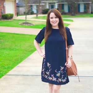 LOFT Navy Floral Shift Dress